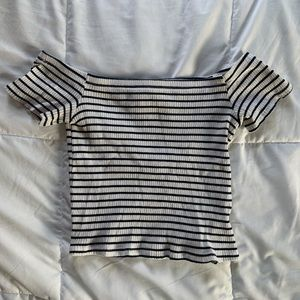 Divided Striped Off The Shoulder Top